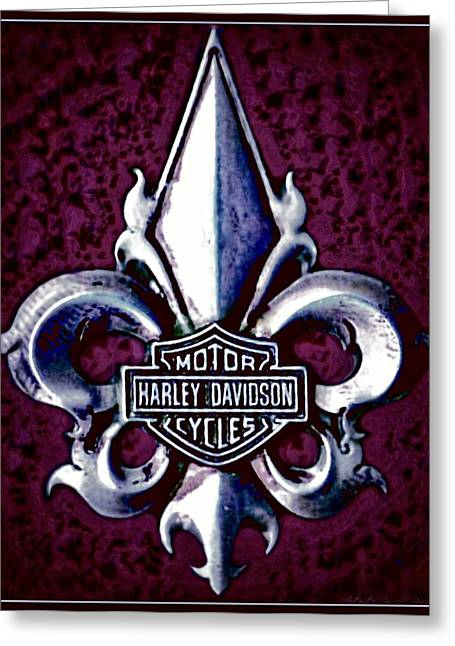 Fleurs De Lys With Harley Davidson Logo Greeting Card