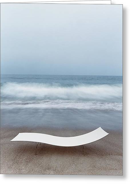 Flexy Batyline Mesh Curve Chaise On Malibu Beach Greeting Card by Simon Watson