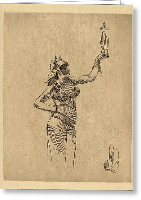 Félicien Rops Belgian, 1833 - 1898, The Falconer La Greeting Card