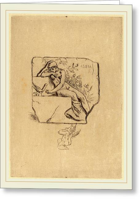 Félicien Rops Belgian, 1833-1898, The Sparrow Of Lesbie Le Greeting Card