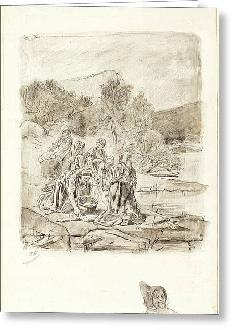 Félicien Rops Belgian, 1833-1898, Washerwomen Greeting Card by Litz Collection