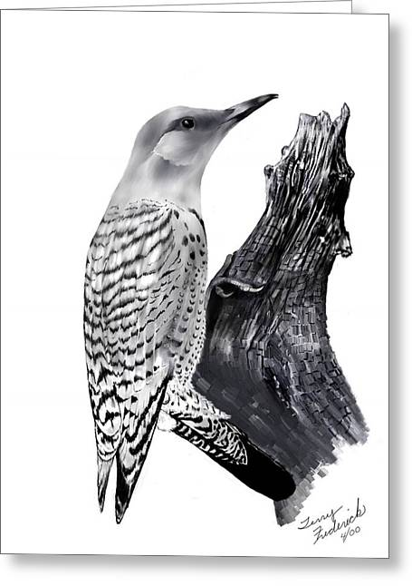 Greeting Card featuring the drawing Flicker by Terry Frederick