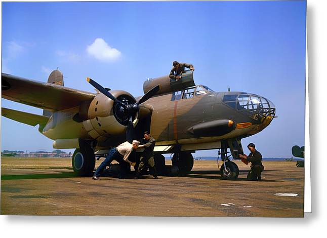 Flight Crew Prepping A Douglas A-20c-bo Havoc 1942 Greeting Card