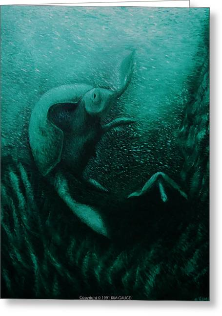 Greeting Card featuring the painting Flight Of The Green Turtles by Kim Gauge