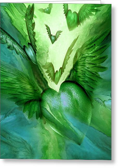 Flight Of The Heart - Green Greeting Card by Carol Cavalaris