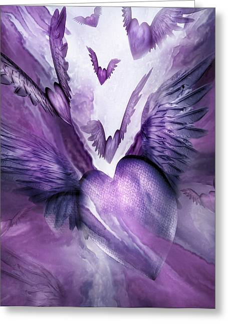 Flight Of The Heart - Lavender Greeting Card by Carol Cavalaris