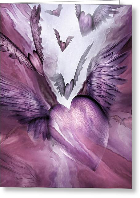Flight Of The Heart - Mauve Greeting Card by Carol Cavalaris