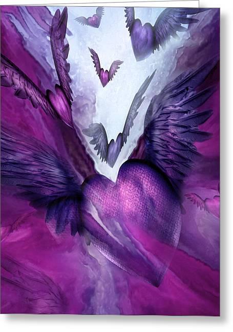 Flight Of The Heart - Purple Greeting Card by Carol Cavalaris