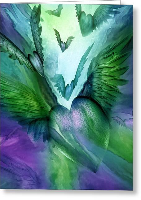 Flight Of The Heart - Purple Green Greeting Card by Carol Cavalaris