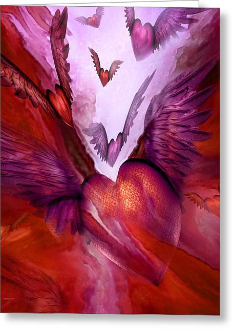 Flight Of The Heart - Red Greeting Card by Carol Cavalaris