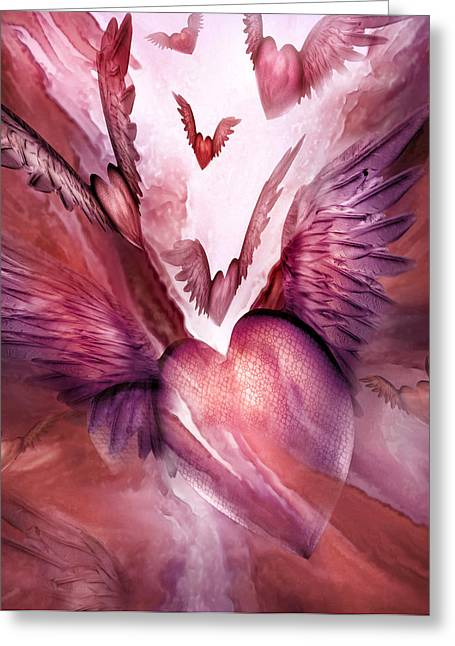 Flight Of The Heart - Rose Greeting Card by Carol Cavalaris
