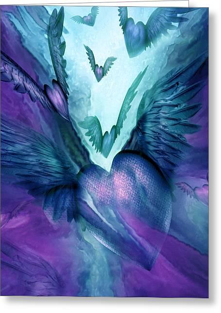 Flight Of The Heart - Teal Purple Greeting Card by Carol Cavalaris