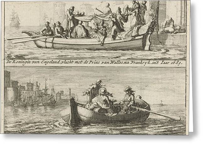 Flight Of The King And Queen To France, 1688 Greeting Card
