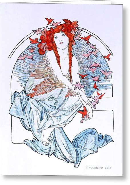 Oh To Fly   After Mucha Greeting Card by Tony Ruggiero