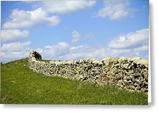 Greeting Card featuring the photograph Flint Hills Rock Fence by Steven Bateson