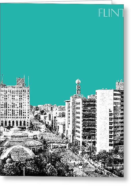 Flint Michigan Skyline - Teal Greeting Card by DB Artist