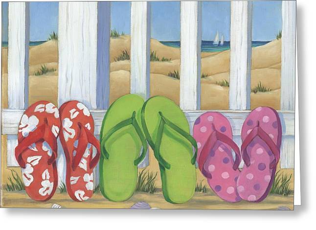 Flip Flop Beach Square Greeting Card by Paul Brent