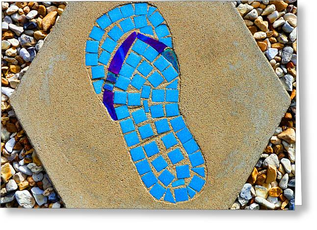 Square Flip Flop Stepping Stone Two Greeting Card