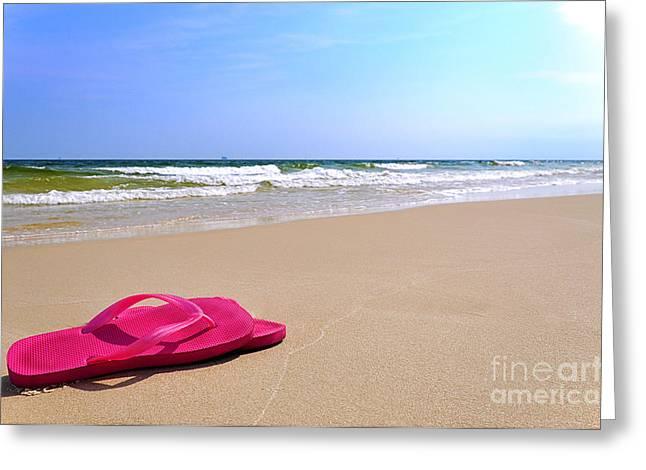 Flip Flops On Beach Greeting Card by Danny Hooks
