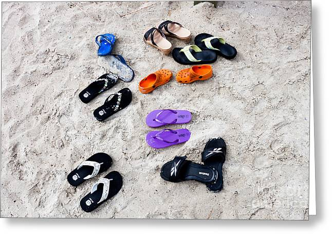 Flip Flops On The Beach Greeting Card