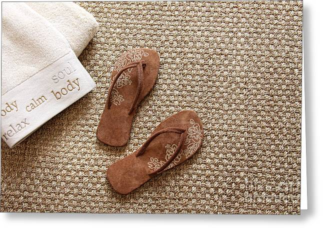 Flip Flops With Towels On Seagrass Rug Greeting Card by Sandra Cunningham
