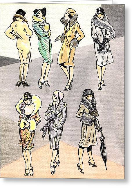Flirty Flappers Greeting Card by Mel Thompson
