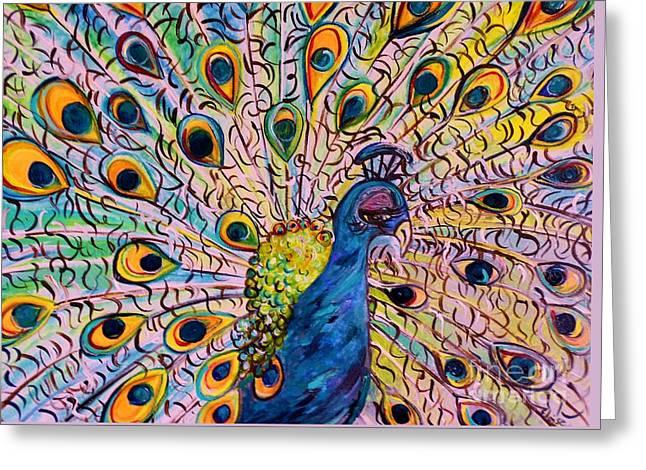 Flirty Peacock Greeting Card by Eloise Schneider