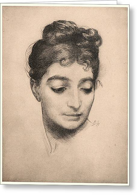 Félix Bracquemond French, 1833 - 1914. Portrait Greeting Card