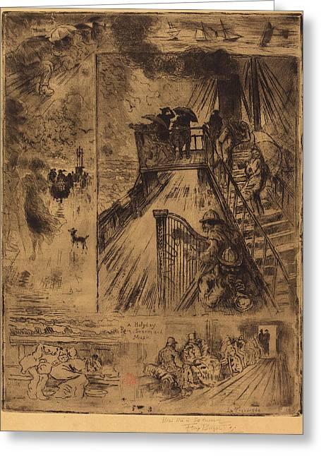 Félix-hilaire Buhot French, 1847 - 1898, La Traversée Greeting Card by Quint Lox