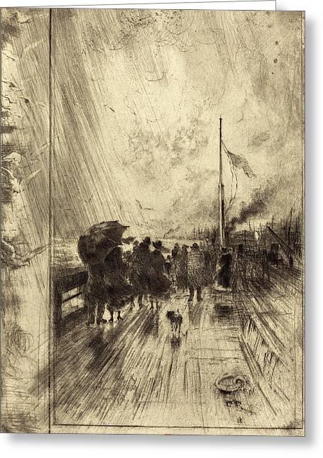 Félix-hilaire Buhot French, 1847 - 1898, Une Jetée En Greeting Card by Quint Lox