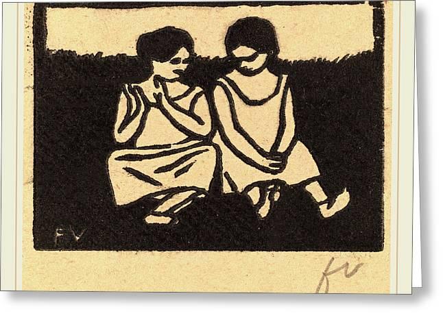 Félix Vallotton, Two Girls In Chemises Deux Fillettes En Greeting Card