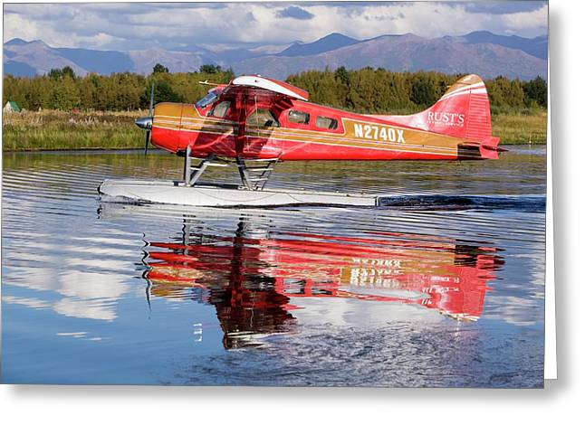 Float Plane Flying Into Anchorage Greeting Card