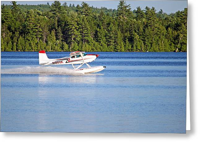 Greeting Card featuring the photograph Float Plane Landing On The Lake by Barbara West