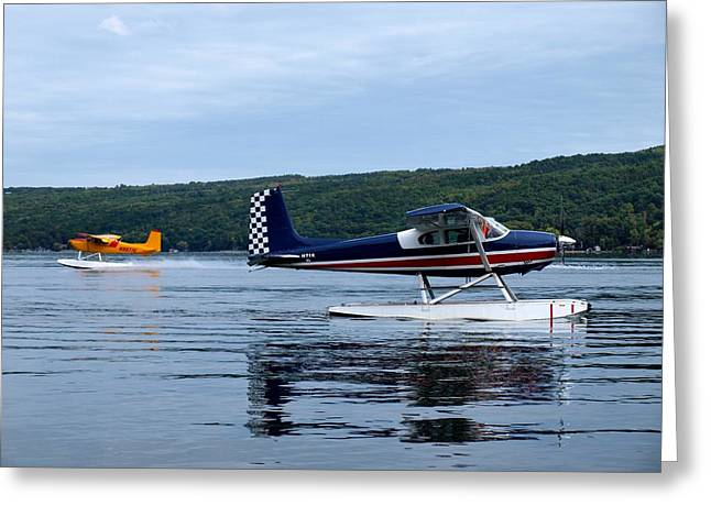 Float Planes On Keuka Greeting Card by Joshua House