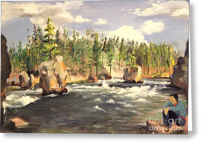 Floating Boulders On The Yellowstone River  1950s Greeting Card