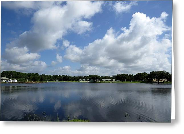 Floating Clouds Over The Lake Greeting Card