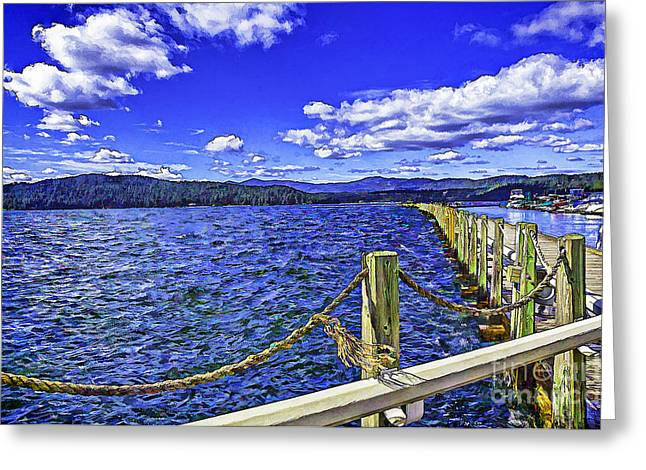 Floating Dock On A Windy Day   Greeting Card by Nancy Marie Ricketts