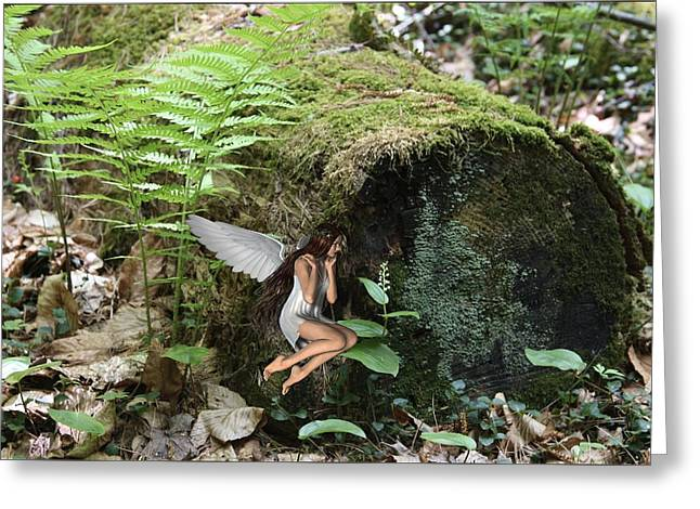 Floating Fairy In Forest Greeting Card by Lynn-Marie Gildersleeve