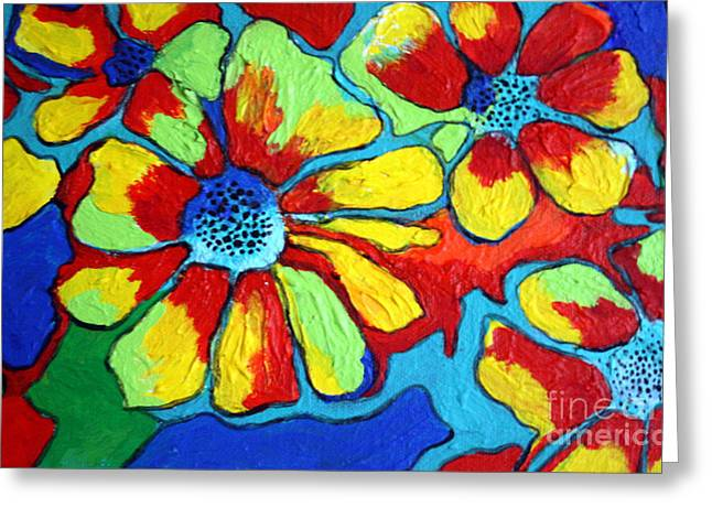 Greeting Card featuring the painting Floating Flowers by Alison Caltrider