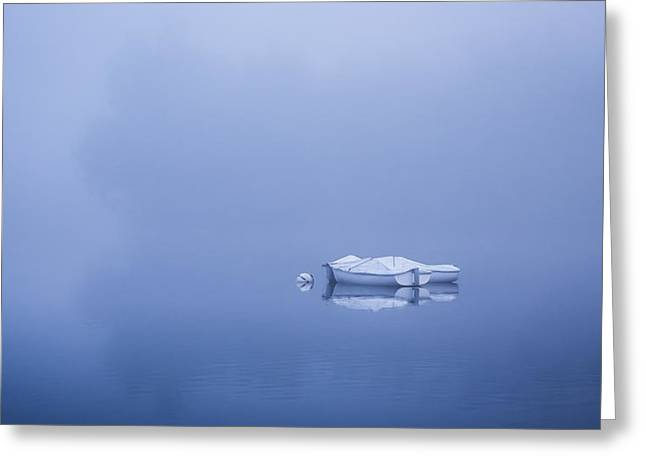 Floating In Blue Greeting Card by Debra and Dave Vanderlaan