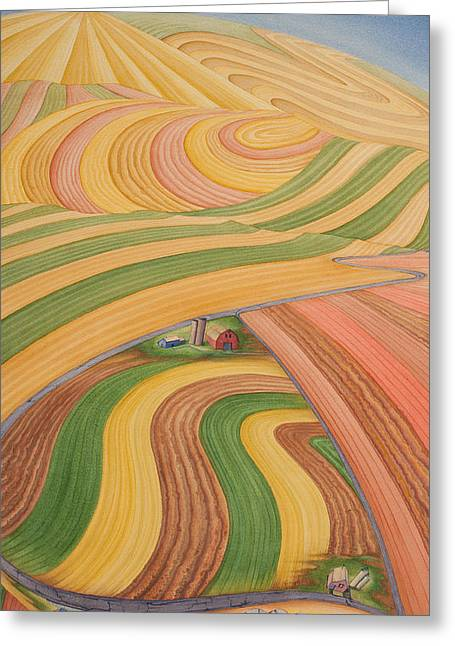Floating Over Fields I Greeting Card by Scott Kirby