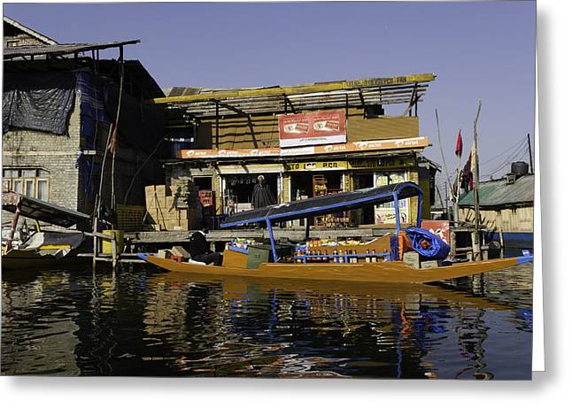 Floating Shop Along With Another Shop On Floats In The Dal Lake Greeting Card by Ashish Agarwal