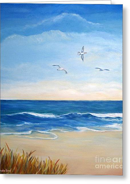 Flock Of Three - Three Birds On The Beach Greeting Card by Shelia Kempf