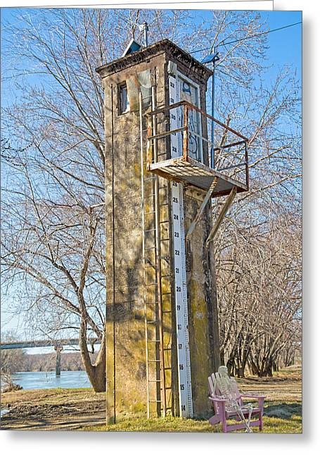 Flood Stage Gauge Scottsville Virginia Greeting Card