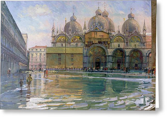 Flood Tide, Venice, 1992 Oil On Canvas Greeting Card