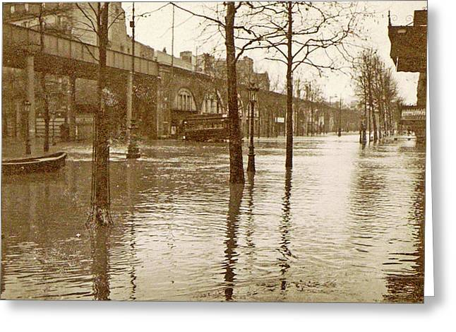 Flooded Street In A Flyover During The Flooding Of Paris Greeting Card by Artokoloro
