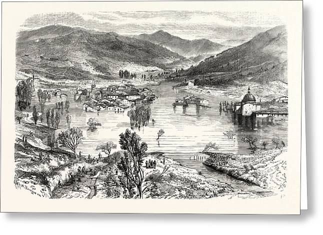 Flooding Of The City Of San Stefano In Tuscany Greeting Card