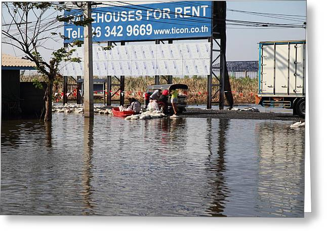 Flooding Of The Streets Of Bangkok Thailand - 01137 Greeting Card by DC Photographer