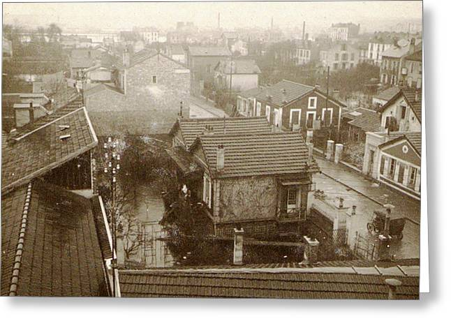 Flooding Paris Suburbs In 1910, France Greeting Card