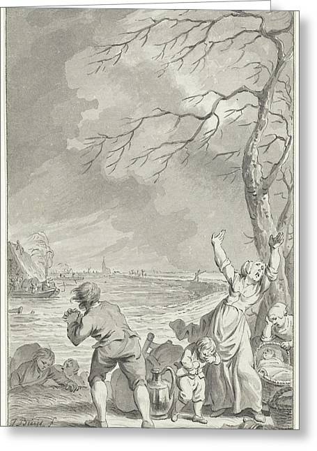 Flooding Rijndijk In Gelderland, 1770, The Netherlands Greeting Card by Quint Lox